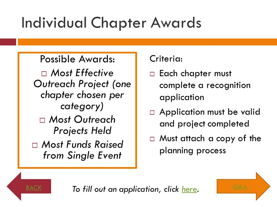 Individual Chapter Awards