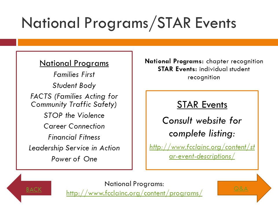 National Programs/STAR Events