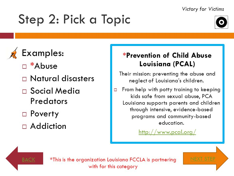 *Prevention of Child Abuse Louisiana (PCAL)