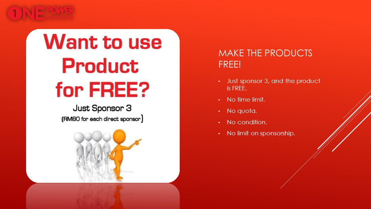 Make the products free! Just sponsor 3, and the product is FREE.