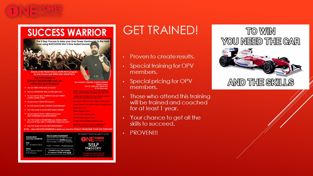 Get trained! Proven to create results.