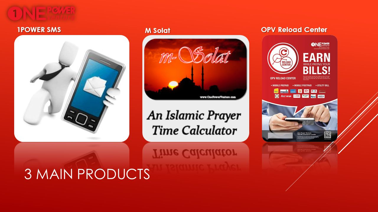 1POWER SMS M Solat OPV Reload Center 3 main products