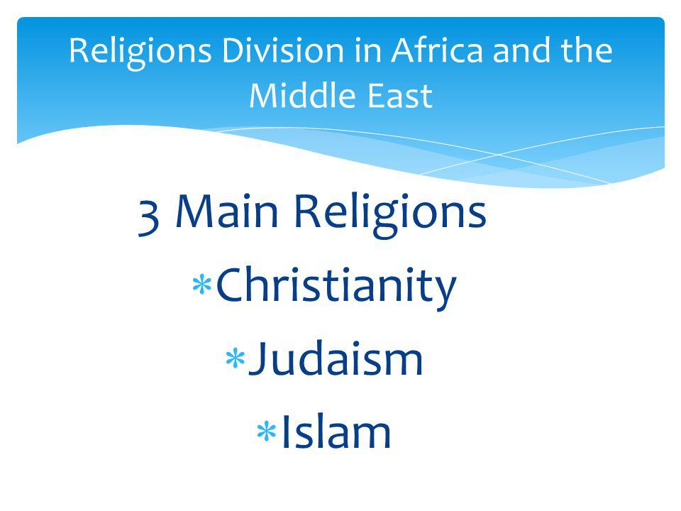Religions Division in Africa and the Middle East