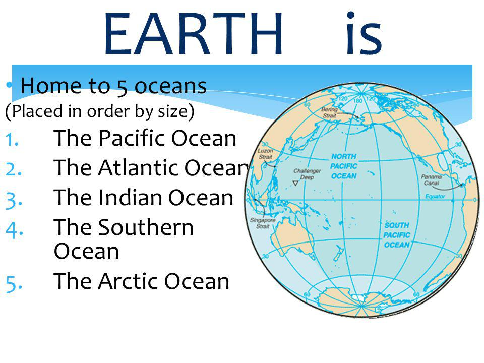 EARTH is Home to 5 oceans The Pacific Ocean The Atlantic Ocean