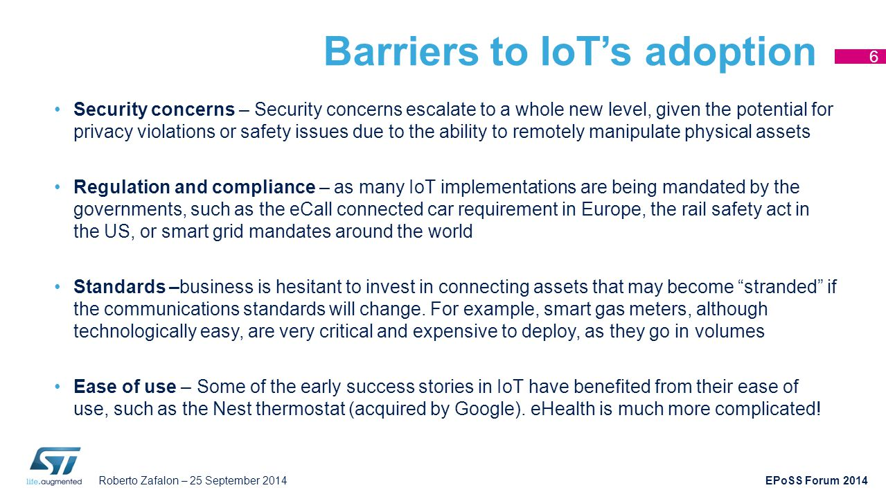 Barriers to IoT's adoption