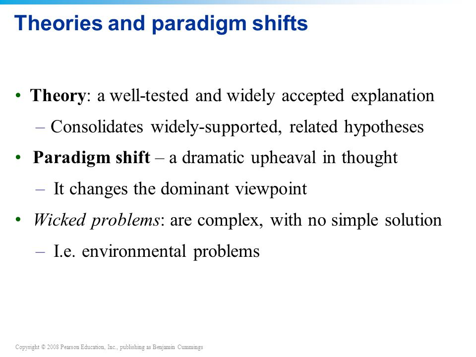 Theories and paradigm shifts