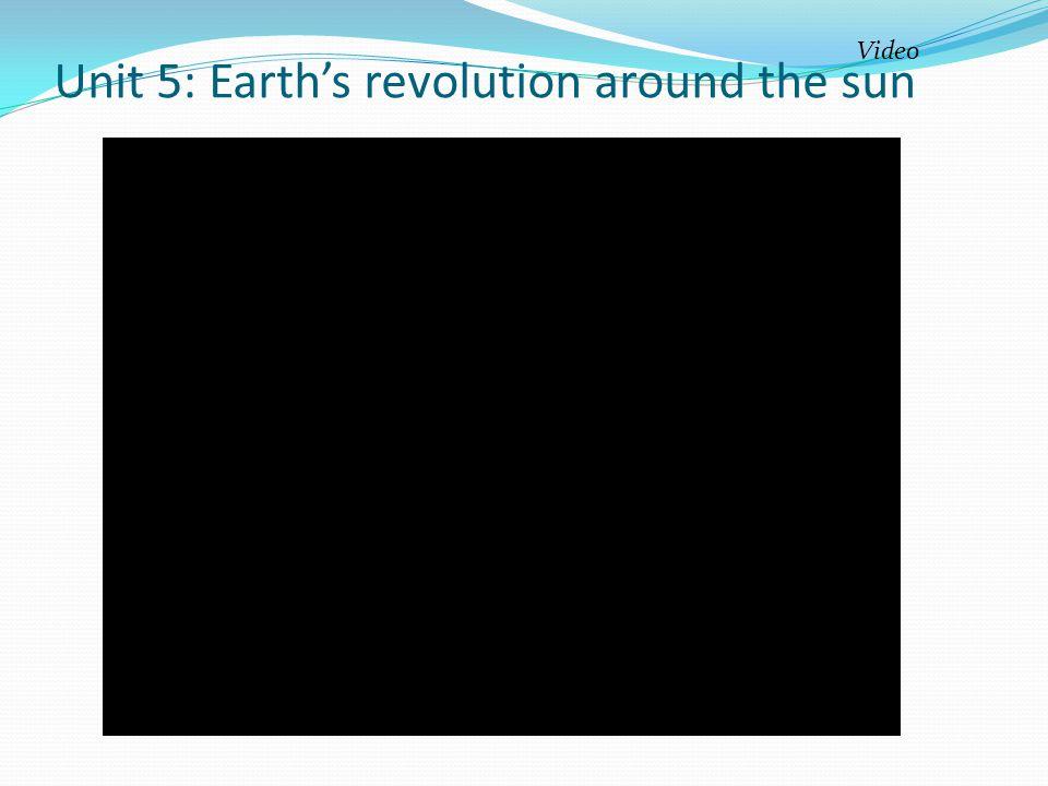 Unit 5: Earth's revolution around the sun
