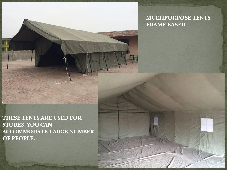 MULTIPORPOSE TENTS FRAME BASED. THESE TENTS ARE USED FOR STORES.