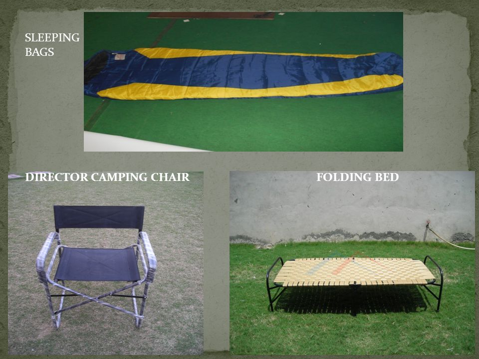 SLEEPING BAGS DIRECTOR CAMPING CHAIR FOLDING BED