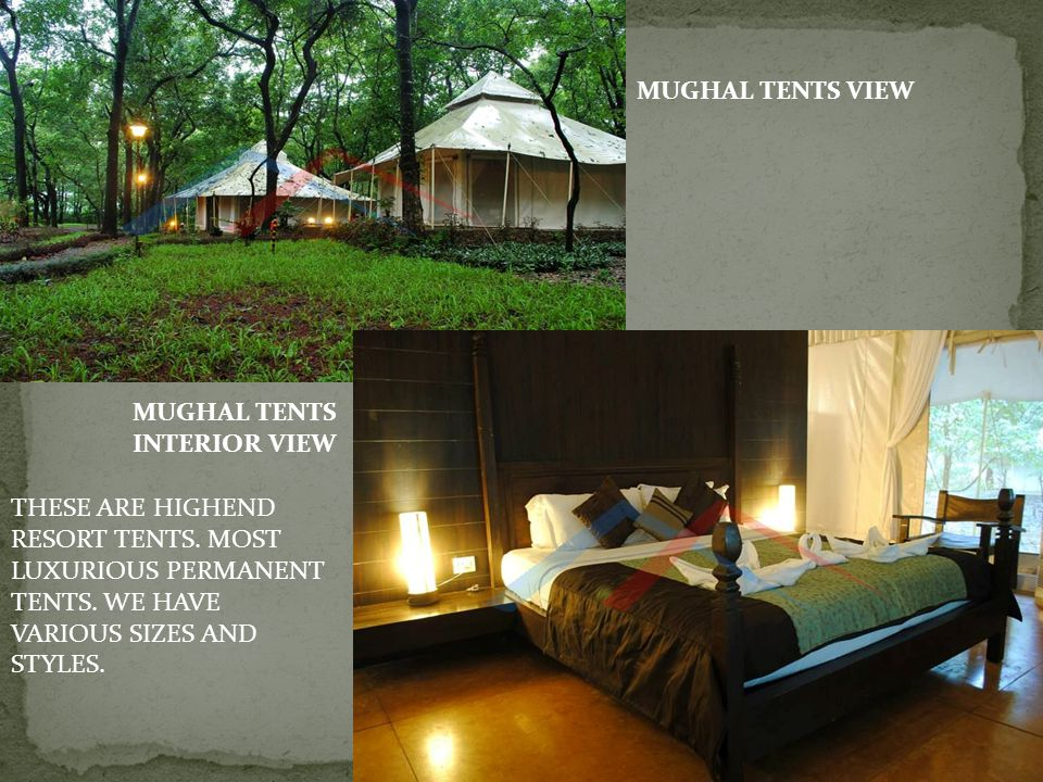 MUGHAL TENTS VIEW MUGHAL TENTS. INTERIOR VIEW. THESE ARE HIGHEND RESORT TENTS.