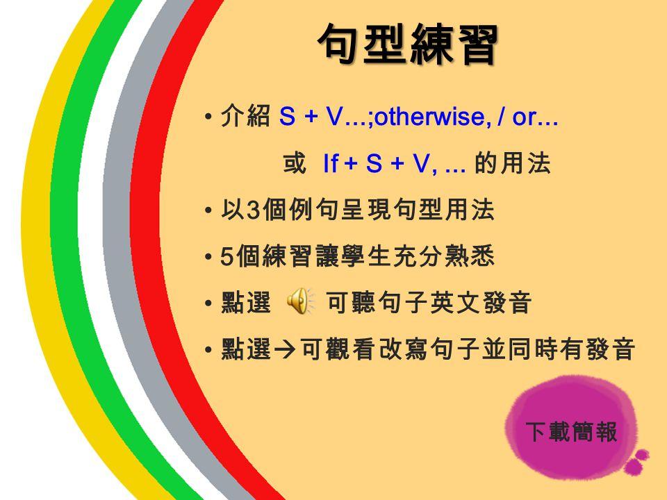 句型練習 介紹 S + V...;otherwise, / or... 或 If + S + V, ... 的用法 以3個例句呈現句型用法