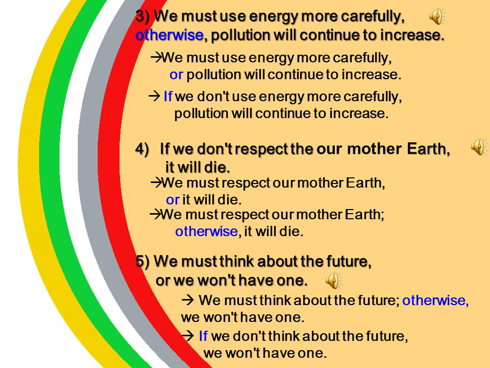 3) We must use energy more carefully,