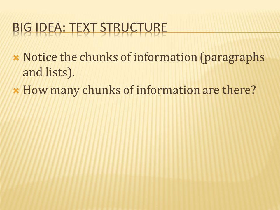 Big idea: Text structure