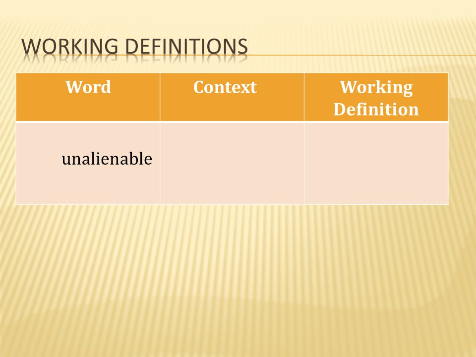 Working definitions Word Context Working Definition unalienable