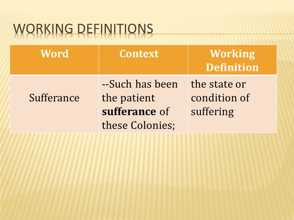 Working definitions Word Context Working Definition Sufferance