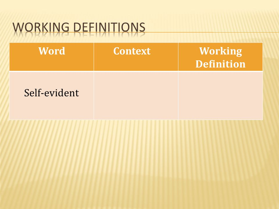 Working definitions Word Context Working Definition Self-evident