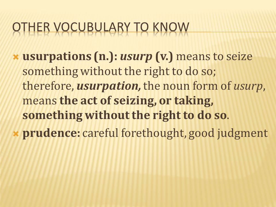 Other vocubulary to know