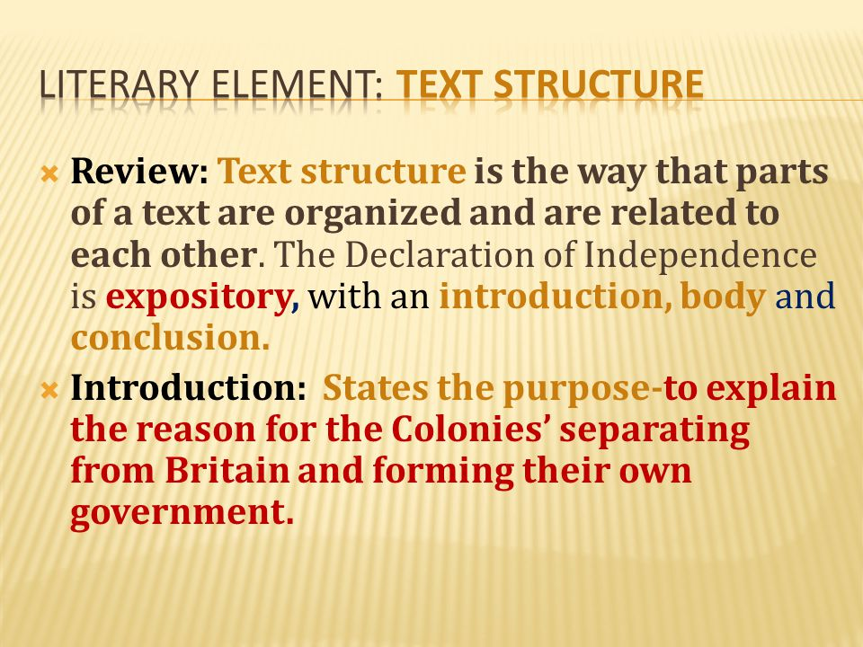 Literary element: text structure