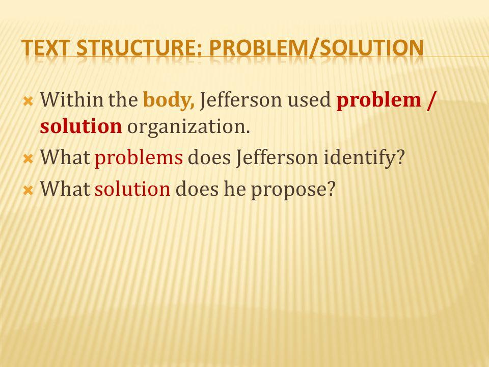text structure: Problem/solution