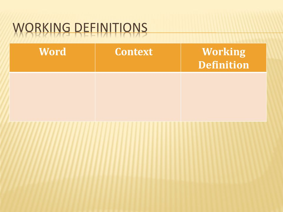 Working definitions Word Context Working Definition
