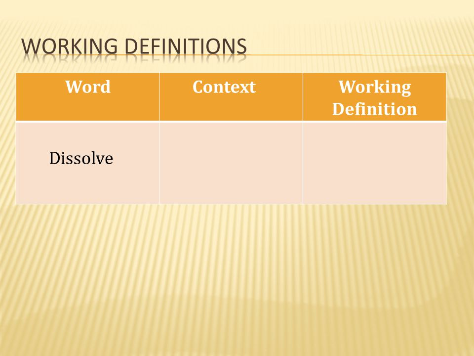 Working definitions Word Context Working Definition Dissolve