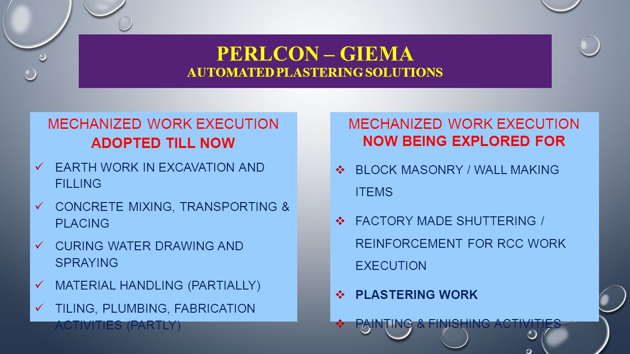 PERLCON – GIEMA AUTOMATED PLASTERING SOLUTIONS