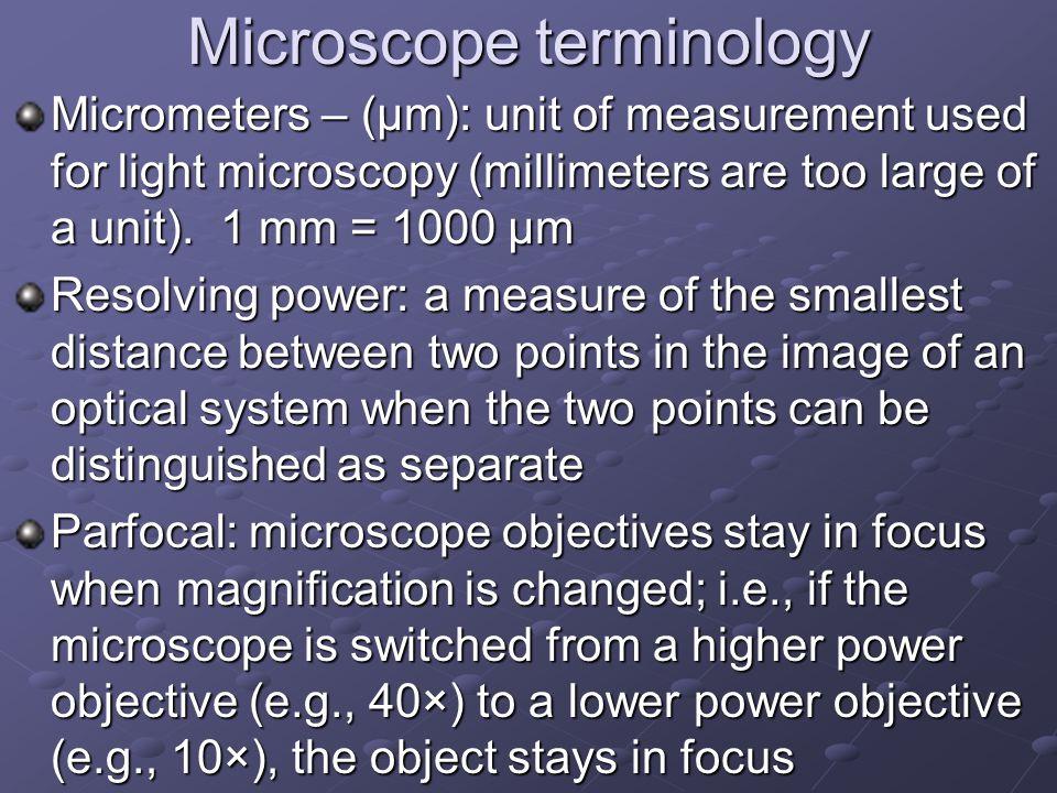 Microscope terminology