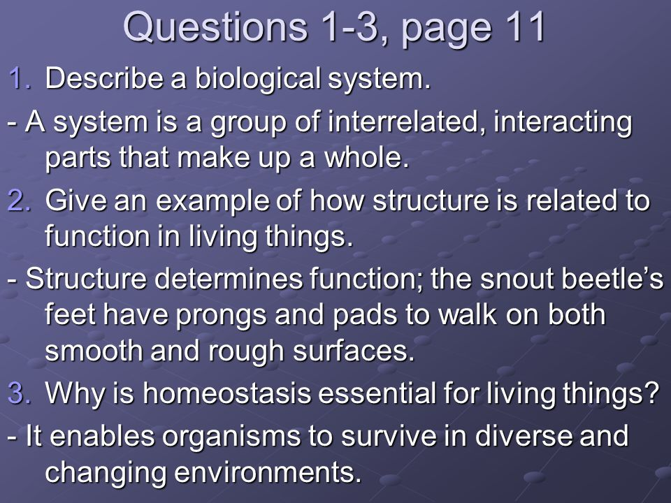 Questions 1-3, page 11 Describe a biological system.