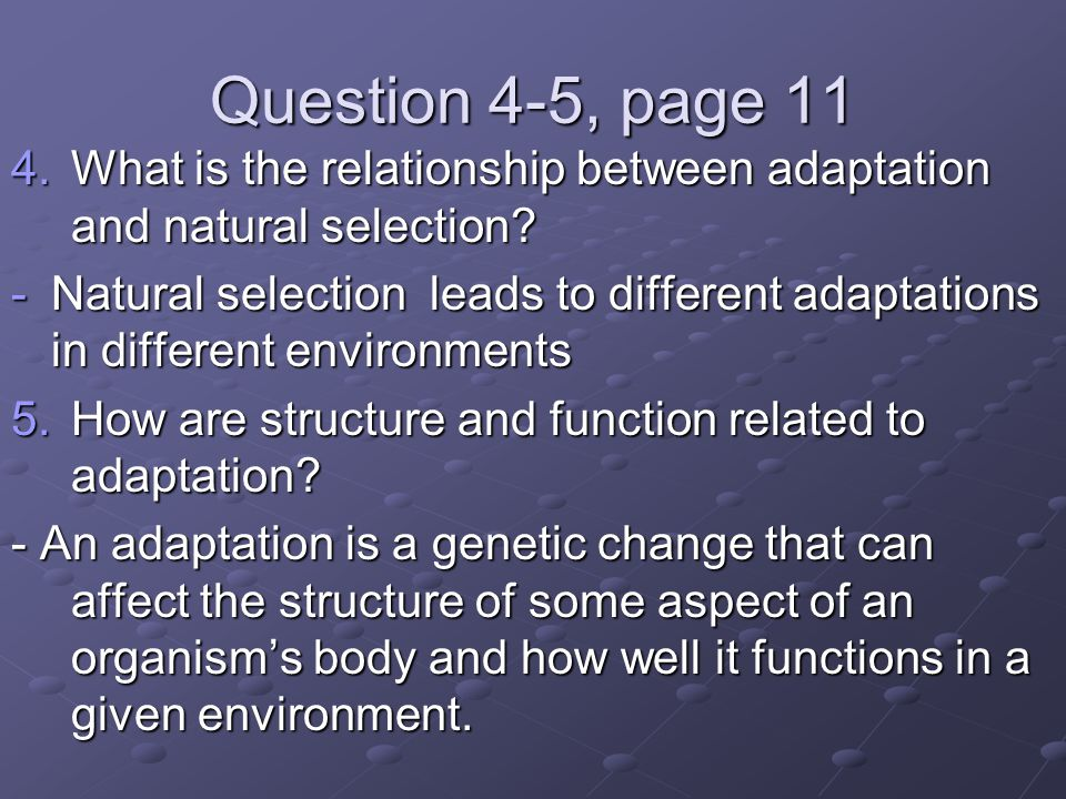 Question 4-5, page 11 What is the relationship between adaptation and natural selection