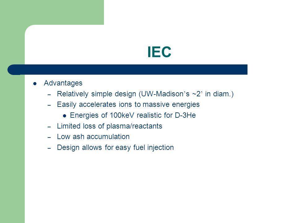 IEC Advantages Relatively simple design (UW-Madison's ~2' in diam.)