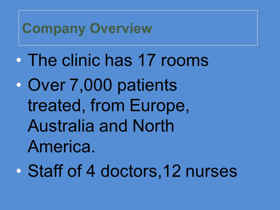 Over 7,000 patients treated, from Europe, Australia and North America.