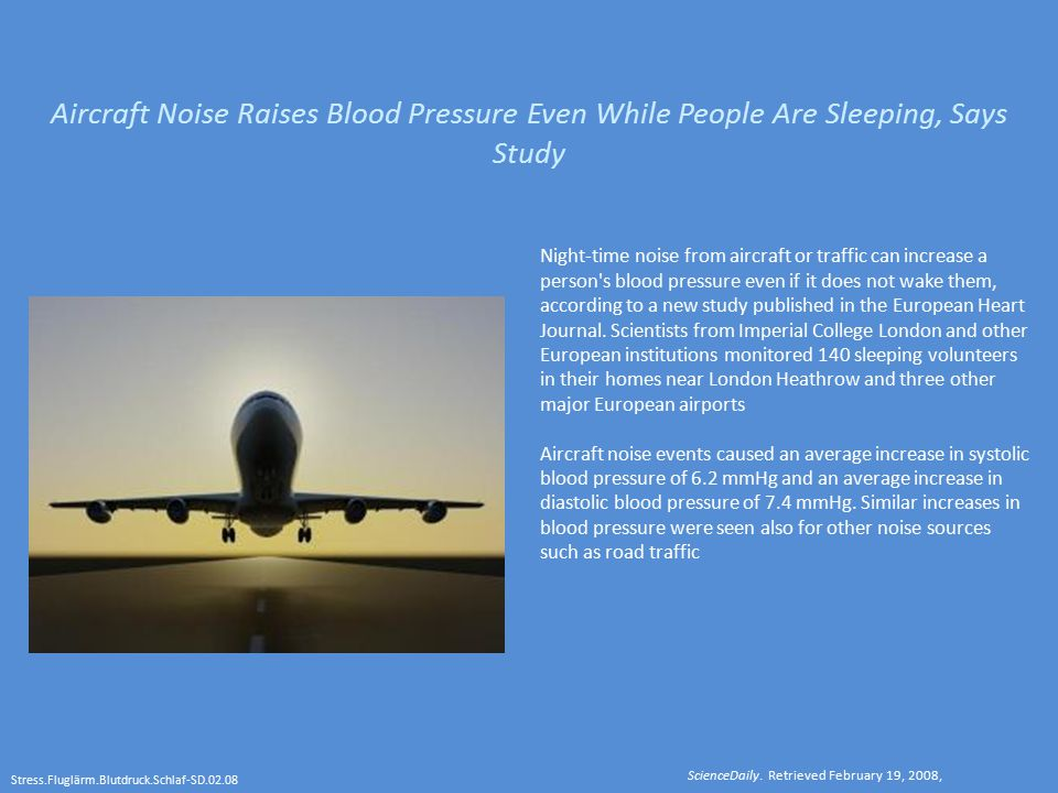 Aircraft Noise Raises Blood Pressure Even While People Are Sleeping, Says Study