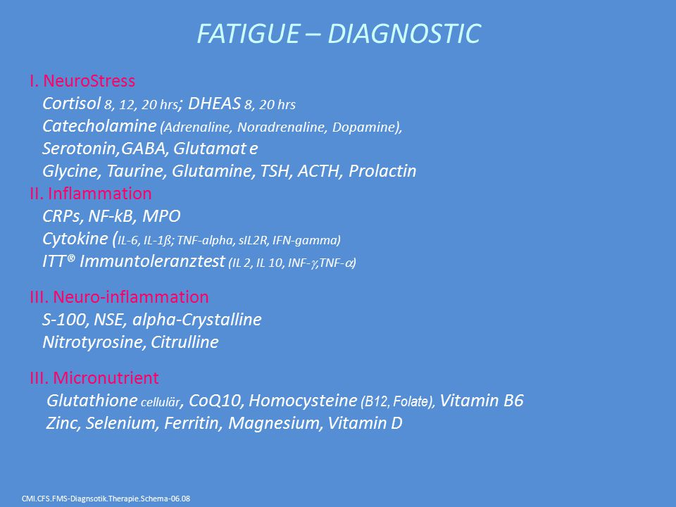 FATIGUE – DIAGNOSTIC I. NeuroStress