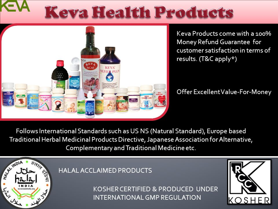 Keva Health Products Keva Products come with a 100% Money Refund Guarantee for customer satisfaction in terms of results. (T&C apply*)