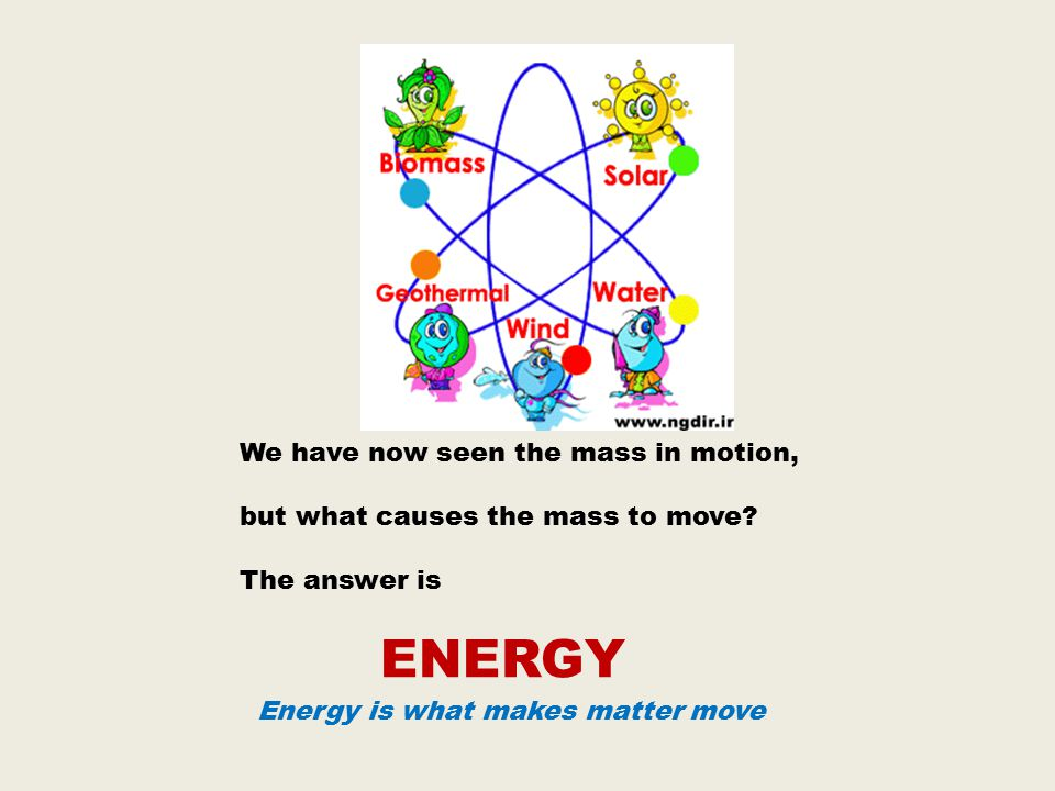 ENERGY We have now seen the mass in motion,