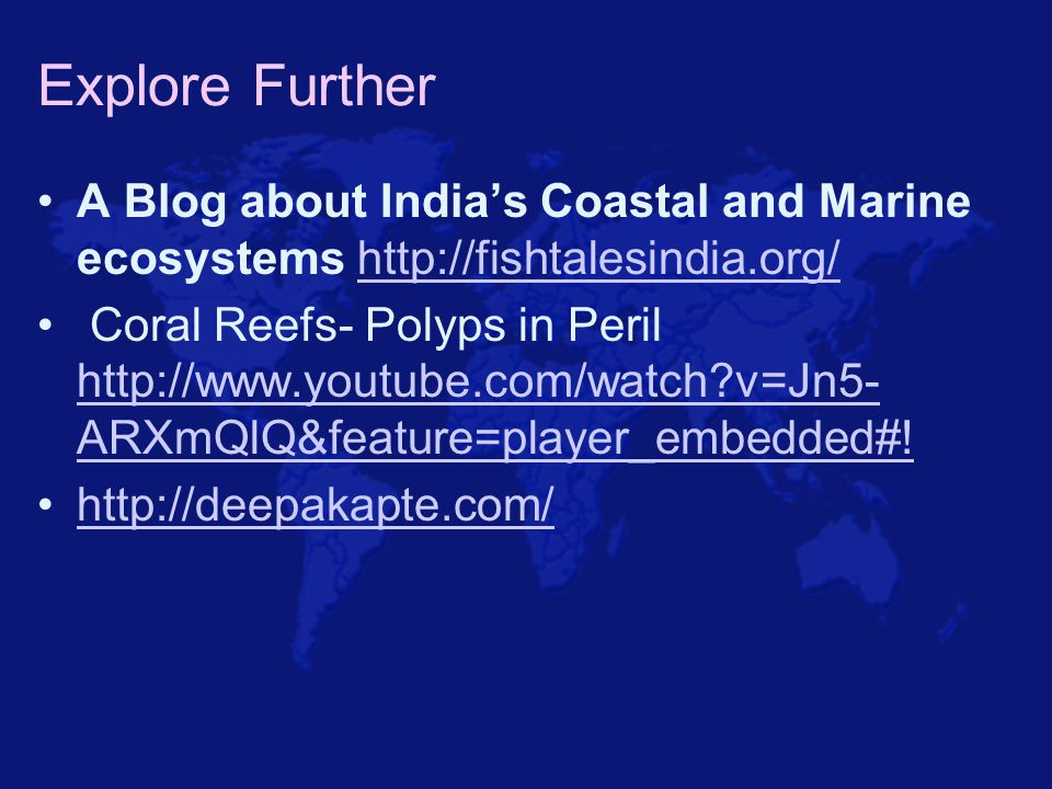 Explore Further A Blog about India's Coastal and Marine ecosystems http://fishtalesindia.org/