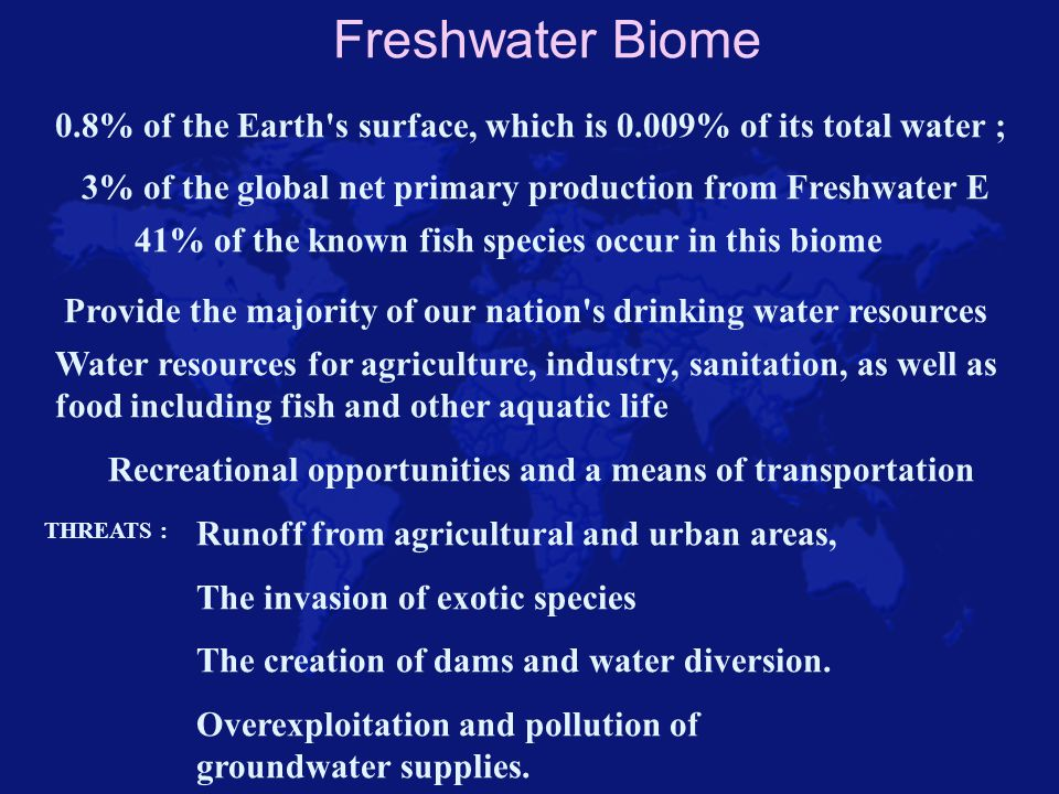Freshwater Biome 0.8% of the Earth s surface, which is 0.009% of its total water ; 3% of the global net primary production from Freshwater E.