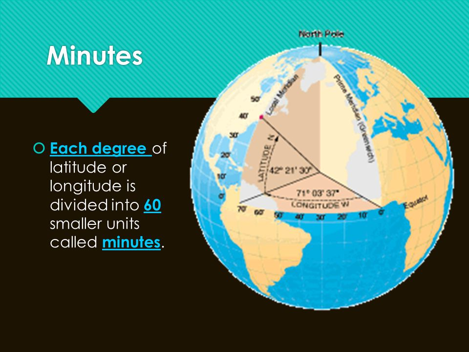 Minutes Each degree of latitude or longitude is divided into 60 smaller units called minutes.