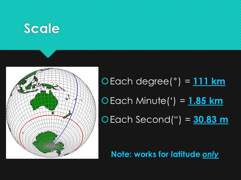 Scale Each degree(°) = 111 km Each Minute(') = 1.85 km