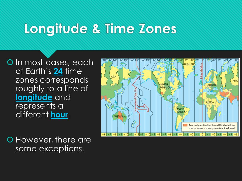Longitude & Time Zones In most cases, each of Earth's 24 time zones corresponds roughly to a line of longitude and represents a different hour.