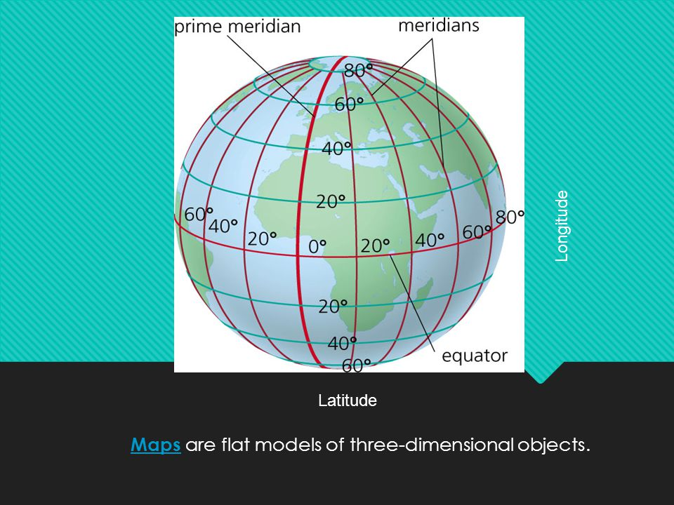 Maps are flat models of three-dimensional objects.