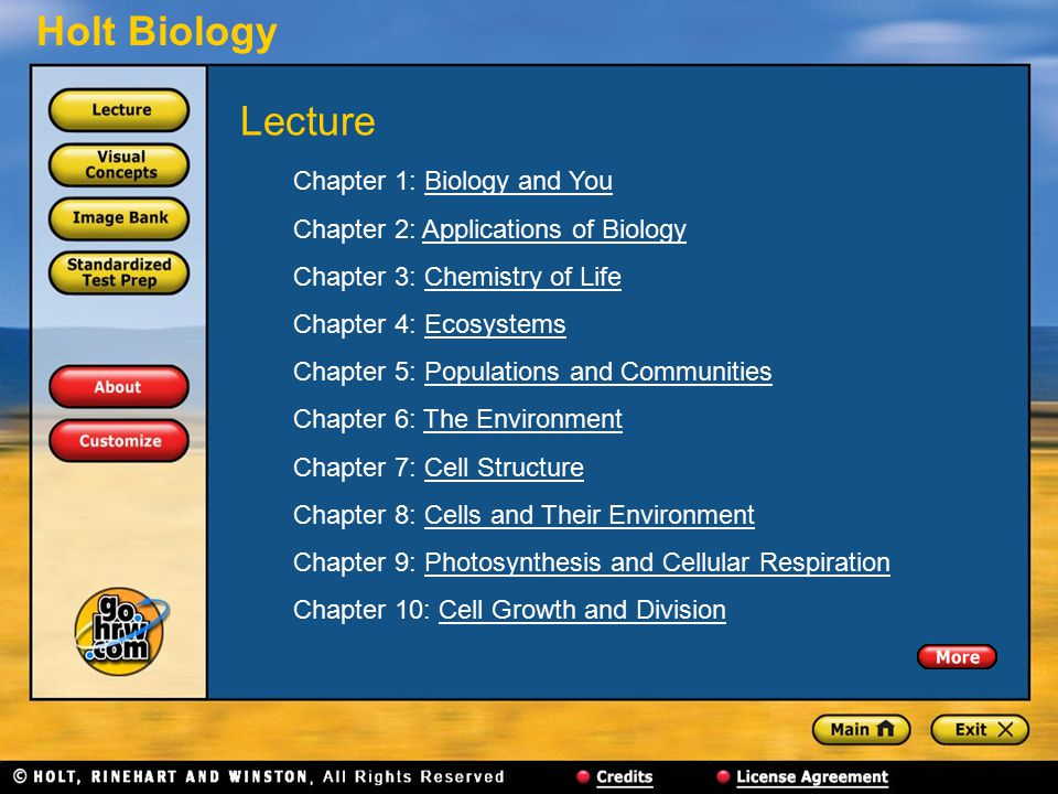Lecture Chapter 1: Biology and You Chapter 2: Applications of Biology
