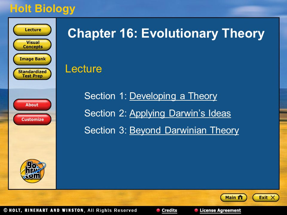 Chapter 16: Evolutionary Theory