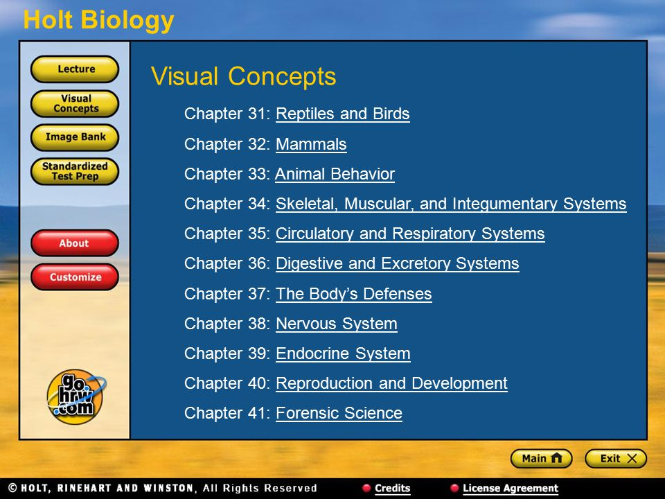 Visual Concepts Chapter 31: Reptiles and Birds Chapter 32: Mammals