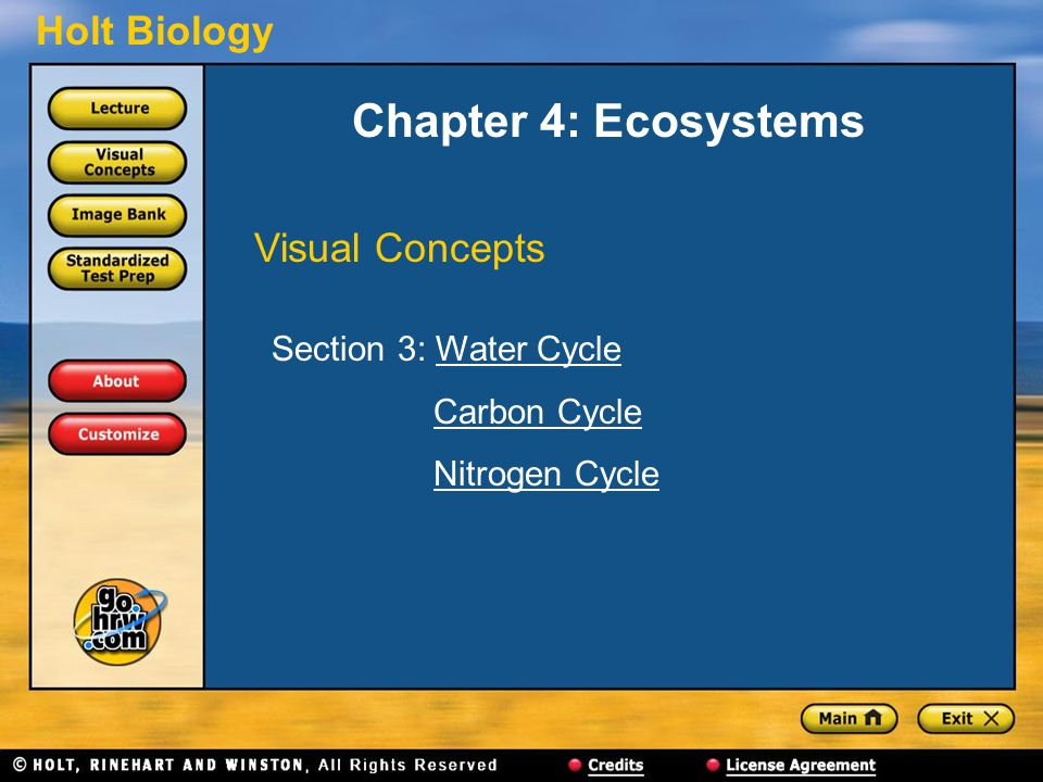 Chapter 4: Ecosystems Visual Concepts Section 3: Water Cycle
