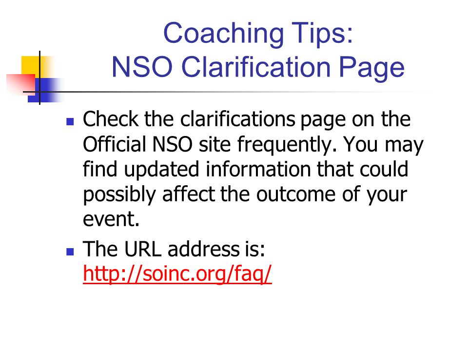Coaching Tips: NSO Clarification Page