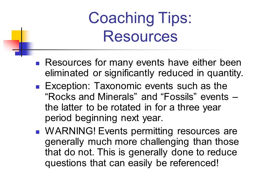 Coaching Tips: Resources