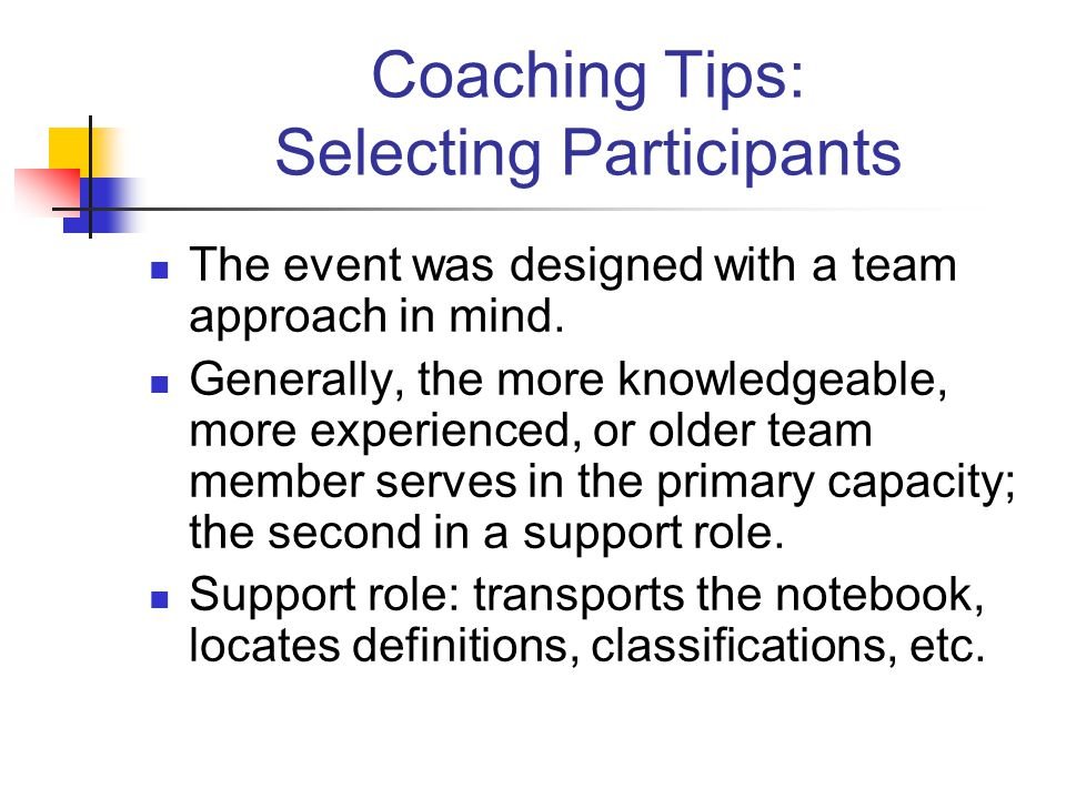Coaching Tips: Selecting Participants