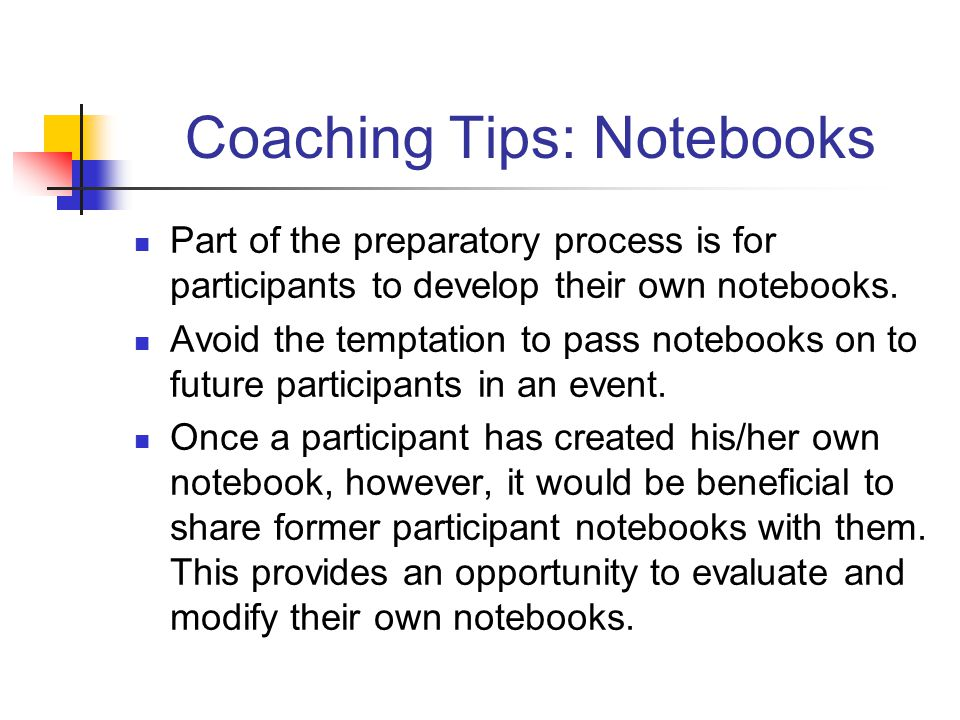Coaching Tips: Notebooks