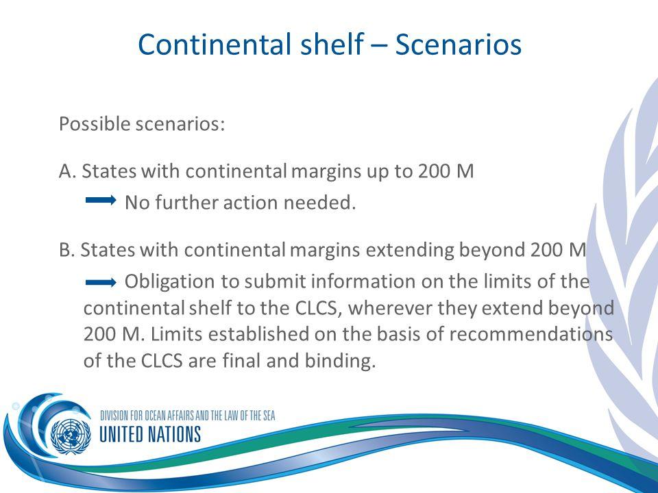 Continental shelf – Scenarios